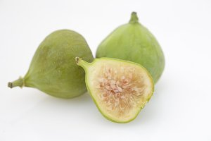 Green Figs on a White Background