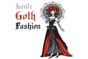 Goth girl with umbrella