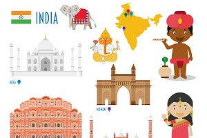 India Flat Icon Set Travel