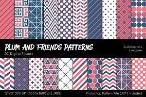 Plum And Friends Digital Papers