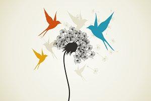 Birds a flower