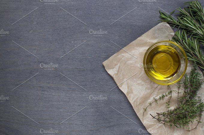 Rosemary and thyme.Top view - Food & Drink