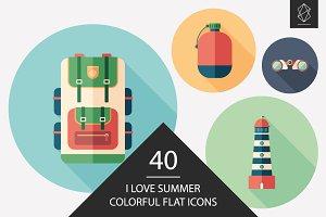 I love summer flat round icon set