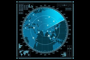 Vector radar screen with planes