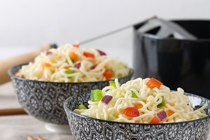 Noodles and vegetables in a bowl