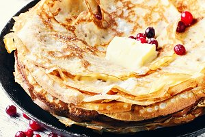 Pancakes in a rustic style