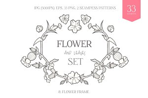 Hand Drawn Flowers. Vector & Raster
