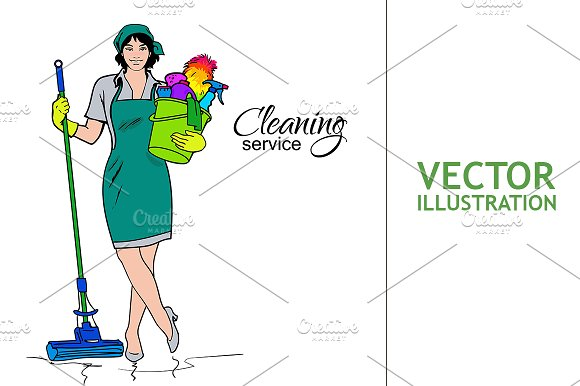 Woman in uniform. Cleaning services. - Illustrations