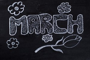 March handwritten on Blackboard