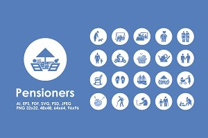 Pensioners simple icons