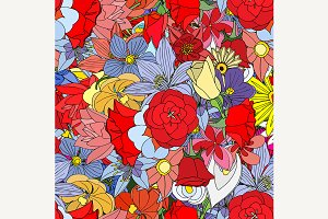 flowers, seamless pattern