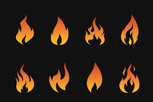 Vector set of flame symbols