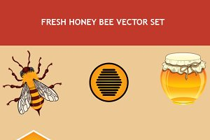Fresh Honey Bee Vector Objects