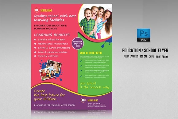 school admission flyer v213 flyer templates creative market