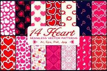 14 Heart Vector Seamless Patterns