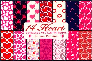 14 Heart Vector Seamless Patterns