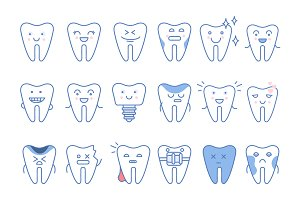Tooth icons set, dental collection