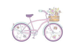 Bicycle with karzinkoy for flowers