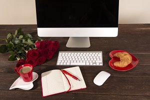 Red Flat Lay Styled Desk Photo