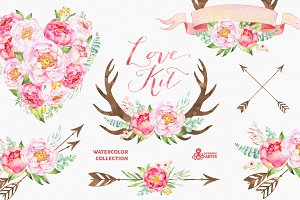 Love Kit. Watercolor collection