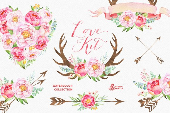 Love Kit. Watercolor collection - Illustrations