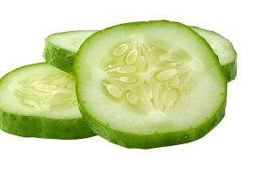 Isolated cucumber slices