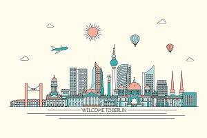 Berlin line art skyline