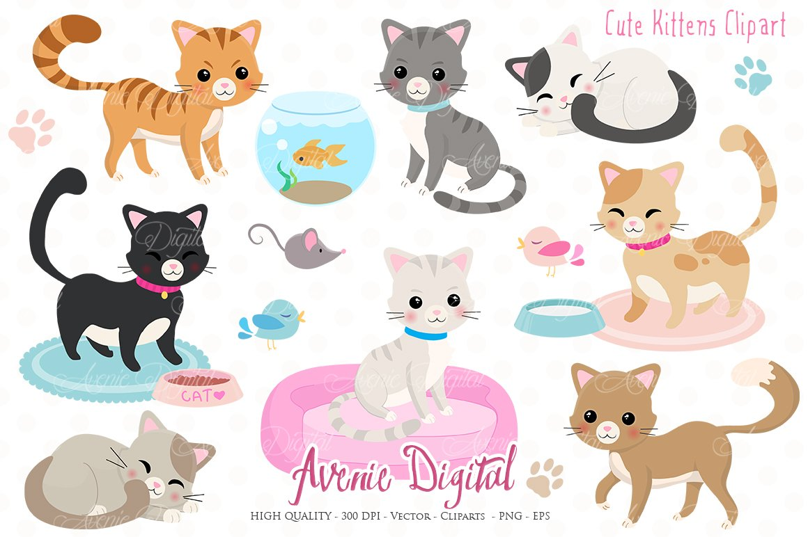 Cute Kittens Clipart + Vectors ~ Illustrations ~ Creative ...