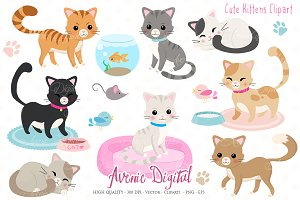 Cute Kittens Clipart + Vectors