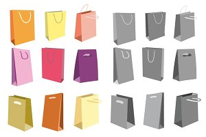 Shopping bag vector set