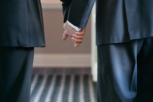 gay couple holding hands, wedding #1