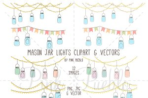 Mason Jar Lights Clipart & Vectors