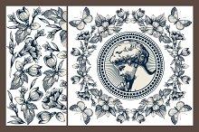 Set. Angel. Flowers card. Butterfly.