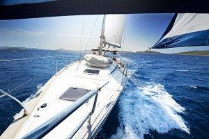 Sailing at windy day