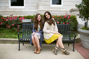 Girls Sitting on a Bench