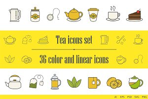 Tea icons. 36 color and linear icons