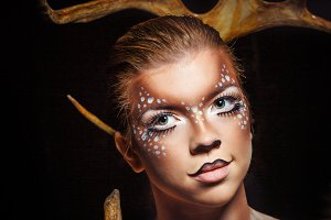 Girl with makeup deer