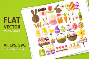 Happy Easter Flat Isolated Objects