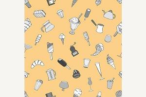 Breakfast  seamless doodle