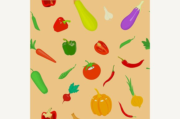 Seamless pattern with vegetables.