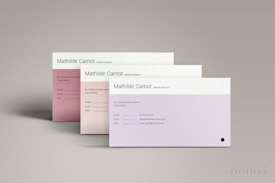 3 Pastel Business Cards • Mathilde in Business Card Templates - product preview 2