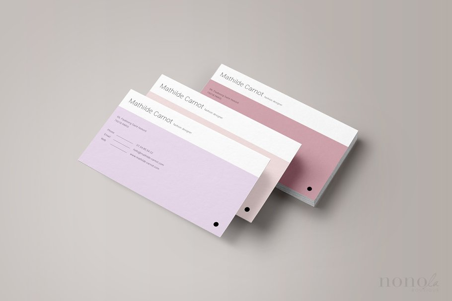 3 Pastel Business Cards • Mathilde in Business Card Templates - product preview 1
