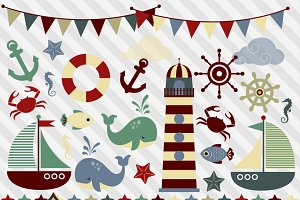 Nautical Clipart - Retro Colors