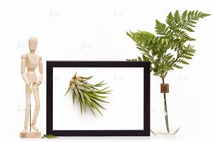 Black styled frame isolated mockup