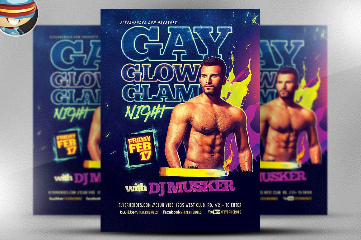 lgbt flyer photos graphics fonts themes templates creative gay glow glam flyer template