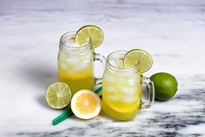 Fresh lemon and lime drinks