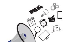 Digital marketing, icons, megaphone