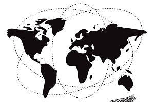handshake, world map