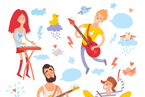 Musicians, singer and bird cartoon