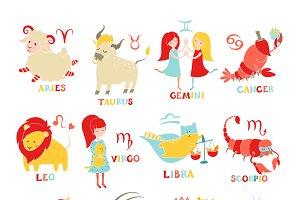 Funny zodiac set. Hand drawn
